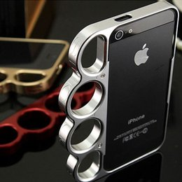 Wholesale Aluminium Frame - 100 %Aluminium Alloy Boxing For Iphone 5 5s Bumper Fashion Lord Rings Knuckles Finger Phone Frame Case Cover For Iphone 5g Se