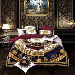 tamanho europeu da fronha de travesseiro Desconto Estilo europeu de Luxo 100 Algodão Marca V Conjunto de Cama de Ouro Rei Queen Size Capa de Edredão Cama Saia Fronhas