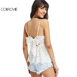 Wholesale Peplum Top Xs - COLROVIE Bow Back Eyelet Cami Top Women White Embroidery Scallop Edge Peplum Summer Tops 2017 Hollow Out Cute Ruffle Camisole