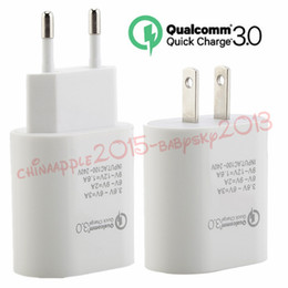 Wholesale 9v ac adapter charger - New 5V 3A 9V 2A 12V 1.6A QC 3.0 Eu US Fast quick charge Ac home travel wall charger power adapter for iphone 7 8 x samsung s7 s8 tablet pc