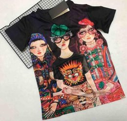 Wholesale italy models - 2018 Europe Italy Luxury senior double-sided character printing printing model canvas printing T-shirt fashion men and women T-shirt casual