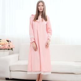 camisola de algodão da princesa Desconto Princesa Camisola de Alta Qualidade Longa Camisola de Algodão de Manga Longa Camisola Maternidade Sleepwear Bedgown Design Retro CE948