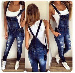 Wholesale Long Jumpsuit Ripped - New Women's Casual Regular Denim Overall Strap Pants Sling Jeans Jumpsuits Trousers Washed Casual Hole Jumpsuits Romper Jeans