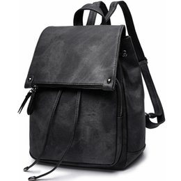 Корейская школьная тетрадь онлайн-Drawstring Backpack Women Leather Vintage College School Bagpack For Women 2018 Waterproof Notebook Book Backpack Girls Korean