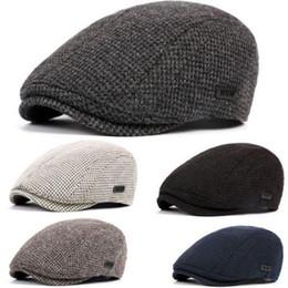 Wholesale Newsboy Beret Cabbie Men - Men Warm Winter Cotton Knitted Gatsby Crochet Cap Driving Flat Sun Hat Cabbie Beret Newsboy Ivy Hat