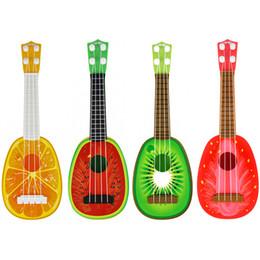 Wholesale wholesale ukulele guitar - Children Intelligence Interactive Toys Musical Instruments 36cm Mini Ukuleles Fruit Guitar Can Be Played Toy Gift 4 75mc W