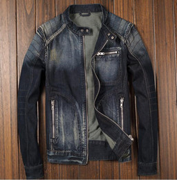 Wholesale drop jeans man - Blue Denim Jean Classic Biker Motorcycle Jacket Stand Collar Retro Slim Fit Men's Jeans Coat Washed High Quality Drop Shipping