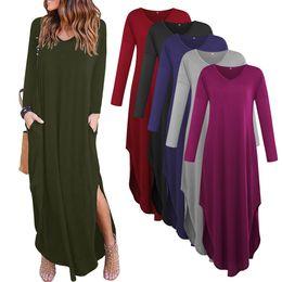 Vestido casual de mujer de otoño nuevo Vestido de manga larga de bolsillo dividido Vestido largo de mujer suelto Maxi S M L XL negro gris morado azul desde fabricantes
