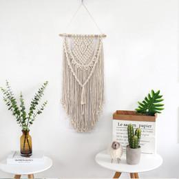 Argentina Nueva mano anudada macramé arte de la pared de algodón hecho a mano tapiz tapiz con telas de encaje bohemio decoración de la boda Suministro