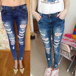 Jeans serrés en Ligne-2018 New Retro Jeans Hole Ripped Trous Jeans Stretch Tight Femmes Denim Pants Femme Taille Basse Casual Pantalon Denim Pantalon
