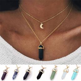 collar de piedra natural luna Rebajas Moda luna colgante collar joyería natural piedra gargantilla collares oro color cadena cristal colgante collar para mujer regalo de san valentín