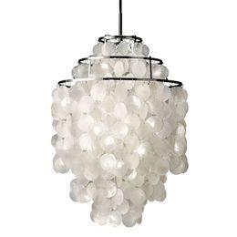 Lampes suspension en Ligne-Natural Shell Pendant Light lampes suspendues blanches Shell naturel lampe s'allume moderne Nordic Seashell Lights luminaire lampes à la maison E050