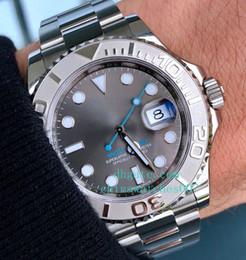 Männer beobachten blaue hände online-Hohe Qualität 116622 Stahl Platin 40mm graues Zifferblatt Blau Hand Link Armband mit Doppelfaltschließe Automatische Herrenuhr Mann Armbanduhr