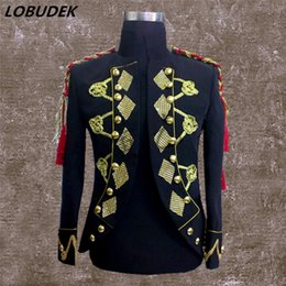 Wholesale Dance Costumes Jacket - England Style Male Court Costume Bar Nightclub Men's Singer Dance performance clothes Gold Tassels Sparkly Crystals Jacket Coats