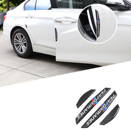 Wholesale Car Door Anti Collision - 4PCS Car door protector Carbon fiber door side stickers car Anti-collision Strips Sticker for BMW E90 E46 F30 F10 X1 X3 X5 X6 GT Z4 F15 F16
