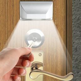 Trou de serrure automatique a mené la lumière en Ligne-Alliage d'aluminium chaud Batterie Couleur blanche 1W Auto PIR Keyhole LED Capteur Lumière lumière de nuit 2pcs / Lot Livraison gratuite