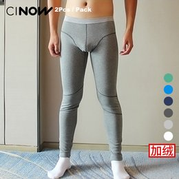 Wholesale thick thermal underwear velvet - 2 Pcs   Pack Male plus velvet thickening tight-fitting Warm cotton Thermal Underwear Long Johns Thick pants fashion legging