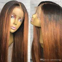 Cheap New Sexy Black Brown 1b 30 33  Ombre Brown Silky Straight Long Wigs  Heat Resistant Glueless Synthetic Lace Front Wigs for Black Women 7485f23723