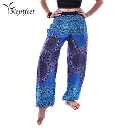 2019 pantalones de entrepierna grandes Nuevos indios grandes pantalones de entrepierna pantalones anchos de pierna Mujeres Danza del vientre pantalones largos de yoga verano playa jugar estilo étnico rebajas pantalones de entrepierna grandes