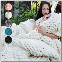 Wholesale Handmade Wool Blankets - 20 Colors 60*60cm Chunky Knit Blankets Merino Wool Handmade Blanket Sofa Air Condition Bed Weave Knitted Photography Blankets CCA8464 20pcs