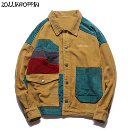 Hip Hop Streetwear Uomo Patchwork Color 100% Cotton Giacca in velluto a coste Turn Down Collar Vintage Mens Coat Outerwear Drop Shoulder supplier corduroy coats jackets da giacche a corduroy fornitori