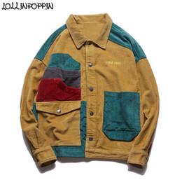 Canada Hip Hop Streetwear Hommes Patchwork Couleur 100% Coton Veste En Velours Côtelé Descendre Col Vintage Hommes Manteau Survêtement Drop Shoulder cheap corduroy collar jacket Offre