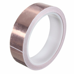 Wholesale copper adhesive - 25mmX10m Single-sided Guitar Conductive Copper Foil Tape Adhesive Back Electric EMI Shield Conduction Guitar Accessories