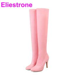 f4b592bb9e6 Brand New Sale Purple Red Women Thigh High Nude Boots Gray Pink Lady Over  the Knee Shoes Heels Y03 Plus Big Small size 32 43 48