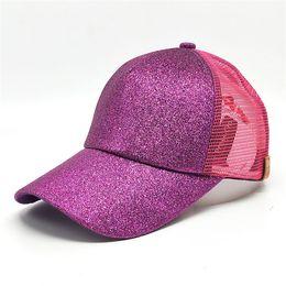 Wholesale new bun - New CC Sequins Ponytail Hats Fashion Women Messy Buns Trucker CC Pony Badaball Snapbacks Caps Plain Baseball Bisor Cap B184