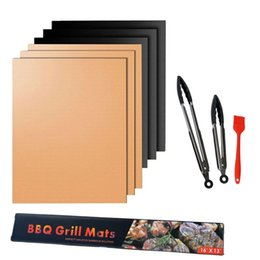 Wholesale Make Cooking - BBQ Grill Mat 5pcs lot Reusable Non Stick BBQ Grill Mat 40*33cm Sheet Portable Easy Clean OutDoor Cooking Tool BBQ Liner T1I221