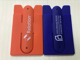 Caso del oem de encargo online-OEM 3M etiqueta engomada adhesiva billetera personalizada logotipo caja del teléfono de silicona con titular de la tarjeta de crédito para todos los teléfonos inteligentes
