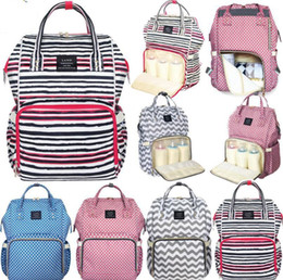 Wholesale Striped Maternity - LAND Waterproof Striped Mummy Backpack Baby Maternity Nappy Diaper Bag Large Capacity Baby Bag Travel Backpacks 4 Colors 20pcs LJJO4051