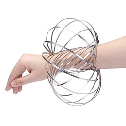 Wholesale Globe Rings - Amazing Magic Flow Rings Decompression Spinning Stainless Metal Galactic Globe Toy Funny Outdoor Game Intelligent Relax 3D Kinetic Spring Br