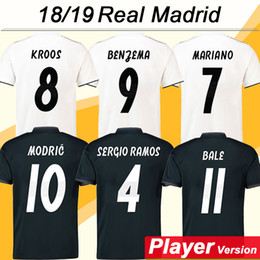 fddaaeea880 2018 19 BENZEMA KROOS Player Version Soccer Jerseys ISCO BALE MARCELO  MARIANO Football Shirts SERGIO RAMOS MODRIC Home Away Mens Uniforms sergio  ramos black ...