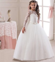 88e654bce2 pageant dresses prices Promo Codes - 2018 Beautiful White Lace Flower Girl  Dress Long Sleeve Girl s