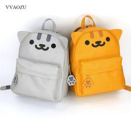 e93baa1bc158 anime cat girls Promo Codes - Harajuku Anime Neko Atsume PU Backpack Girls  Cute Cat With