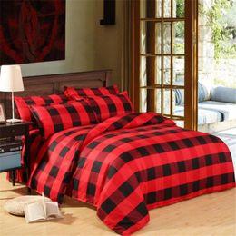 Edredón rojo negro online-Rojo Negro Plaid Duvet Cover 1 unids Funda de edredón 2 piezas de fundas de almohada Set NO Edredón, Twin / Full / Queen / KinAg