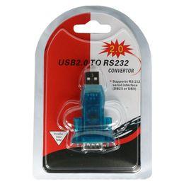 Adaptador serial puerto usb com online-Adaptador HL-340 USB a RS232 COM Serial PDA 9 pines Adaptador DB9 Windows 100 unids / lote DHL Gratis