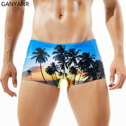 Wholesale Man Bathing Suits Briefs - GANYANR Brand Swimming Trunks Men Swimwear Sexy Plus Size Boxers Swimsuit Gay Bathing Suit Bulge Briefs Swim Shorts Beachwear
