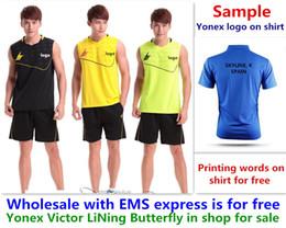 Gros EMS gratuitement, impression de texte pour libre, nouvelle chemise de badminton vêtements tennis de table T sport chemise vêtements 1239 ? partir de fabricateur