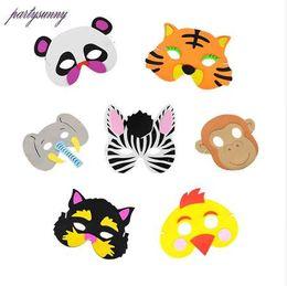 Anniversaire des animaux de la jungle en Ligne-New Cartoon Animals EVA Masque moitié supérieure Face Party pour Birthday Party Enfants Favors Dress Up Costume Zoo Jungle Party Supplies