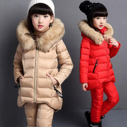 Wholesale Baby Girl Red Fur Coat - Winter Baby Big Girls Clothing Sets Cotton Parkas Fur Hooded Jackets Coat+Pants+Shirts 3Pcs Suits Child Kids Clothes Set JW2993A