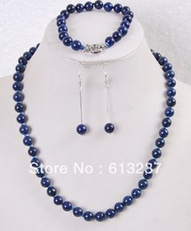 """Wholesale Jade Stone Necklaces - Natural Stone 8mm Blue Lapis Lazuli Round Beads Chain Necklace Bracelet Earrings For Women Jewelry Set 18"""" 7.5"""" MY5009"""