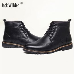 Wholesale Brogue Boots - Mens Leather High-Top Winter Casual Flats Shoes Brand Men's Fashion Ankle Martin Boot Man Lace-Up Vintage Carved Brogue Boots