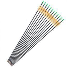 Arco de fibra de vidro recurvo on-line-Linkboy tiro com arco 6 pcs 30 polegadas ID4mm flecha de fibra de vidro com laranja branco pena para recurvo arco longo prática caça tiro com arco