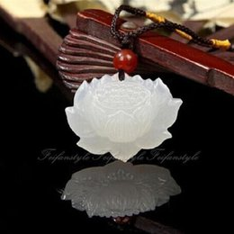 Wholesale Hand Carved Necklace - Natural Hand-Carved Chinese Hetian Jade Pendant Lotus Flower Necklace F153CL crystal love natural stones and minerals