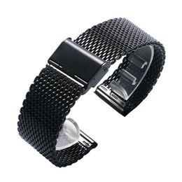 Canada Mode 20 / 22mm Bracelet En Acier Inoxydable Maille Noir Bracelet de Boucle De Boucle Simple Femmes Hommes Montres Bracelet De Remplacement Offre