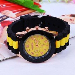 Wholesale Women Silicone Geneva Wrist Watch - Hot Sales Geneva Brand Silicone Watches Women Ladies Dress Jelly Quartz Wrist Watch Relogio Feminino
