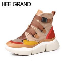 Scarponi da scarpe fibbie aperte online-HEE GRAND 2018 Nuove donne stivali moda con fibbia scarpe invernali PU stivaletti in pelle scarpe Mujer XWD6853