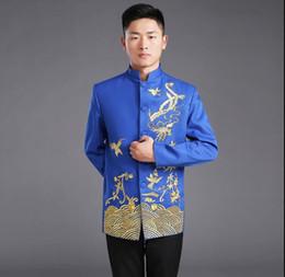 2019 chinesische männer traditionelle kostüme Chinesische herrenbekleidung Traditionelle Bräutigam hochzeit Chinesische Alte Kostüm Blau Rot Tunika Tang Anzug Kleid Baumwolle stickerei Top günstig chinesische männer traditionelle kostüme